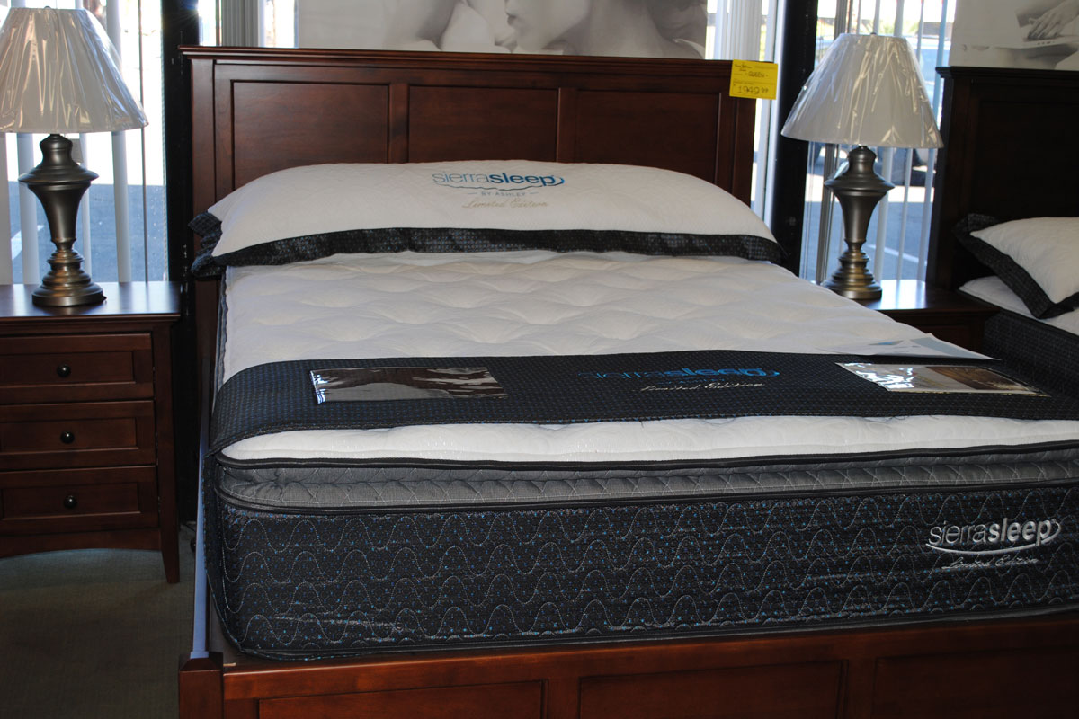 Ashley sierra sleep mattresses in sizes, multiple fill types at desert design furniture stores in tucson