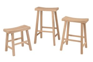 Unfinished wooden stools set furniture on the raw